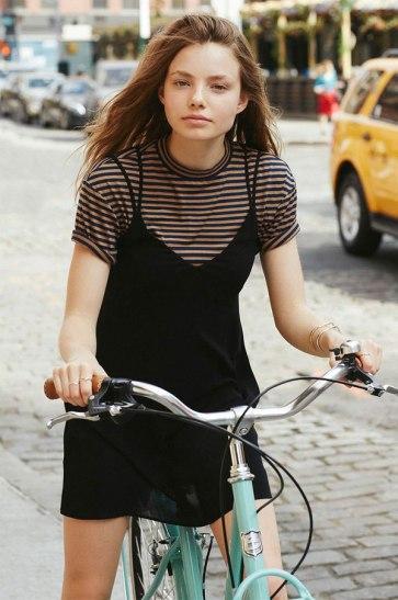 stripes-tshirt-under-black-dress-street-style